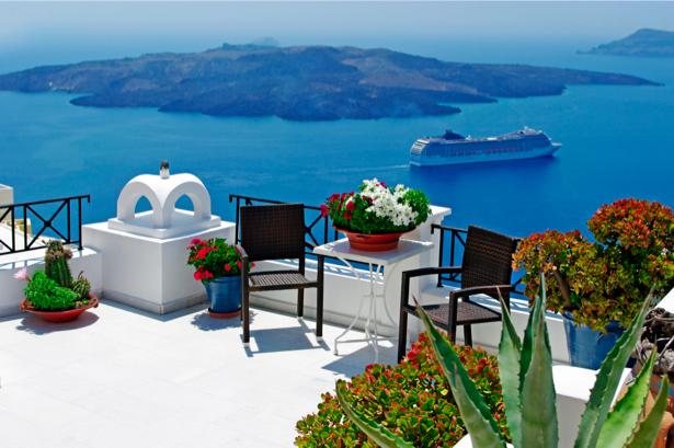 Фотообои Греция терраса вид на море (city-0000619)