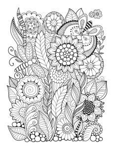 Обои раскраска Цветы и бабочки (color-10)