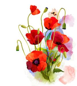Цветочные обои Акварельные цветы (flowers-0000706)