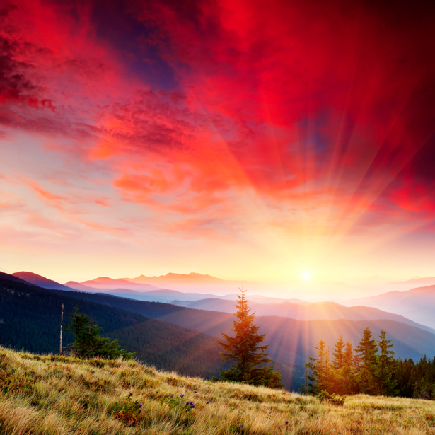 Фотообои красное небо в природе горы закат (nature-00177)