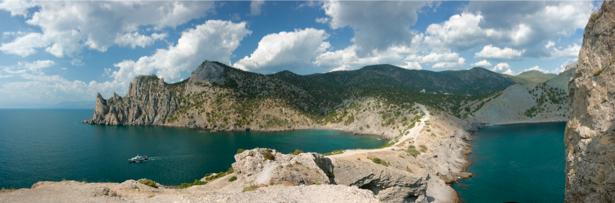 Фотообои горы море панорамное фото (nature-00421)