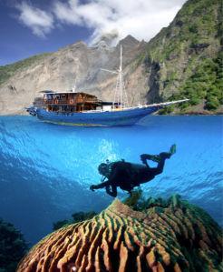 Фотообои море яхта подводный мир (sea-0000287)