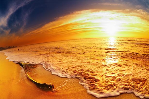 Фотообои море оранжевый закат (sea-0000355)