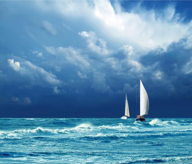 Фотообои яхта на подходе  берегу (transport-0000093)