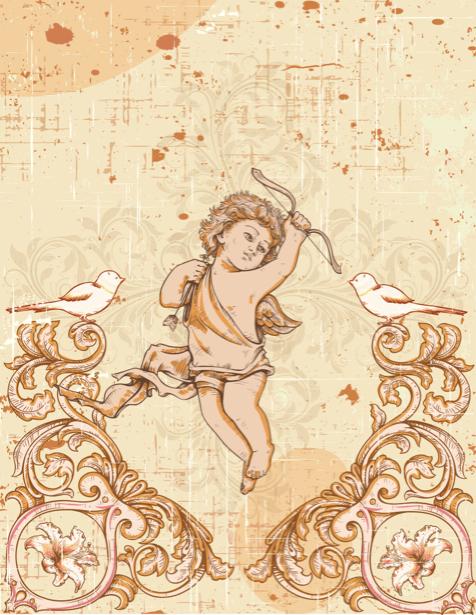 Обои фреска амур и птицы (angel-00046)