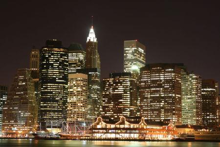 Фотообои Манхэттен в Нью-Йорке ночью (city-1485)