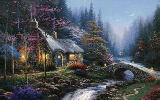 Фотообои сказочная деревушка у ручья (fantasy-0000040)