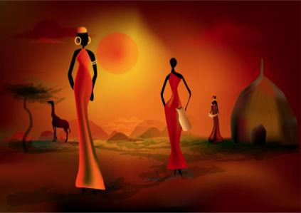 Фотообои нарисованная Африка (fantasy-0000157)