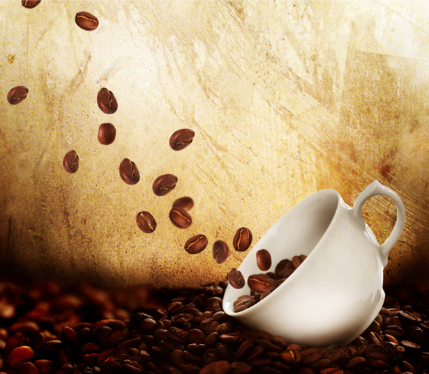 Обои кухню чашка на столе кофе зерна (food-0000084)