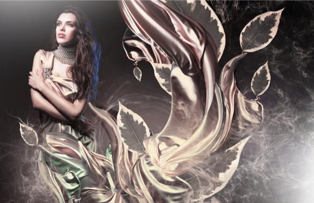 Фотообои девушка в платье листва (glamour-0000004)