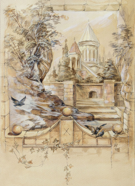 Фотообои Замок акварельный (ha6)