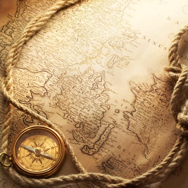 Фотообои золотой компас и карта (map-0000169)