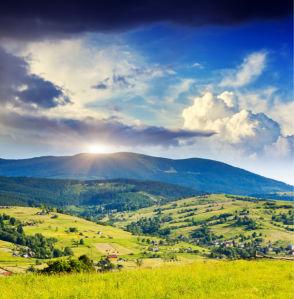 Фотообои пейзаж горный закат (nature-0000677)