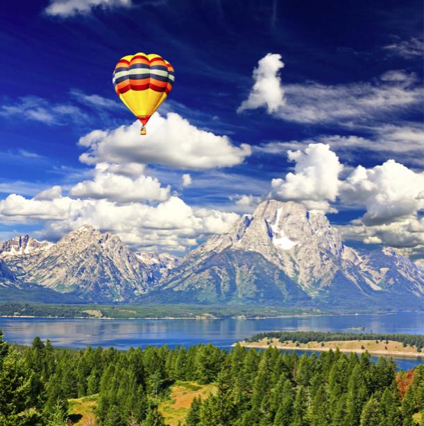 Фотообои горы озеро река небо шар (nature-00196)