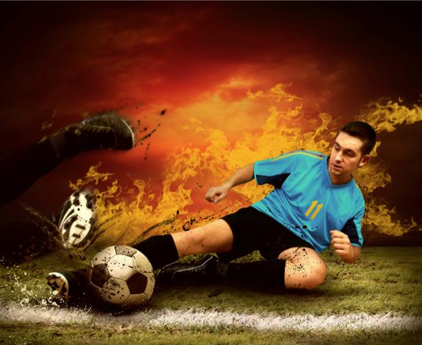Фотообои футболист мяч игра (sport-0000037)