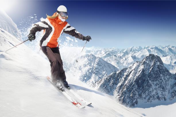 Фотообои лыжница в горах (sport-0000131)