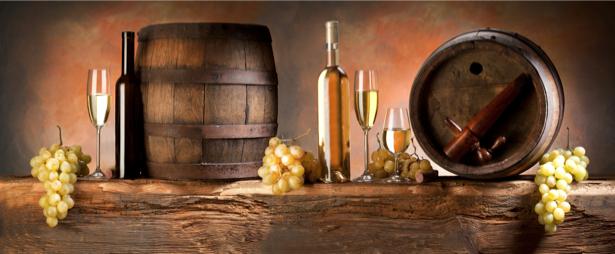 Фотообои виноград с винными бочками (still-life-0034)