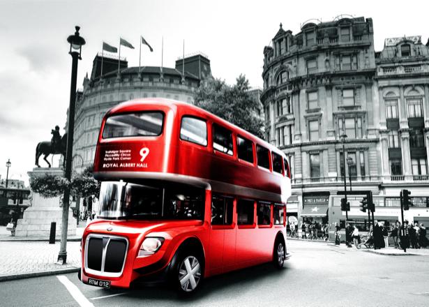 Фотообои красный городской автобус в Лондоне (transport-0000088)