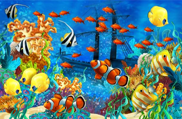 Фотообои для ванны рыбки и корабль (underwater-world-00179)