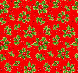Скатерть Омела на красном фоне (0148)