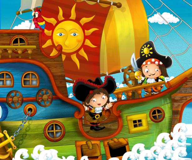 Веселые пираты - фотообои в детской (children-0000380)