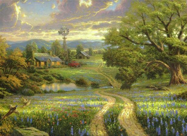 Фотообои деревенский пейзаж (fantasy-0000080)