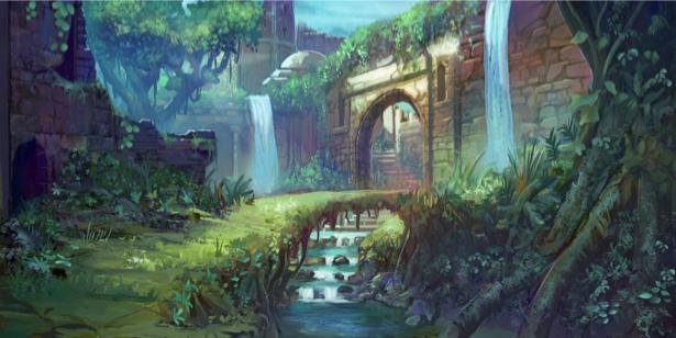 Фотообои замок в джунглях (fantasy-0000155)