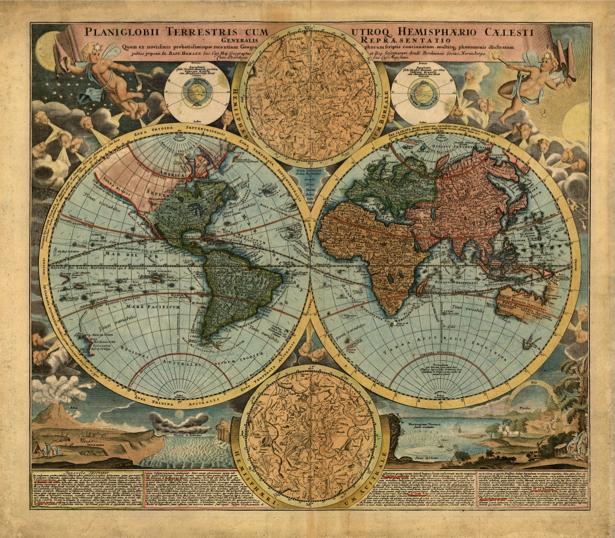 Фотообои карта старинная (map-0000182)