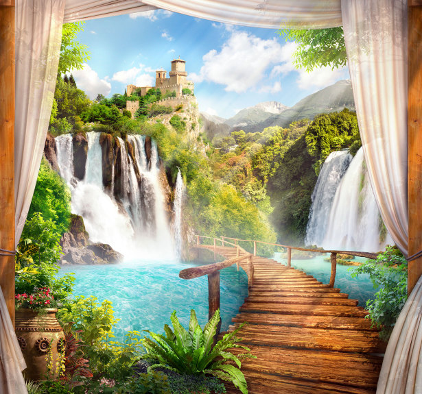 Фотообои мост и водопад (printmaking-0000121)