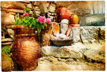 Фотообои дворик красивый цветок (retro-vintage-0000101)