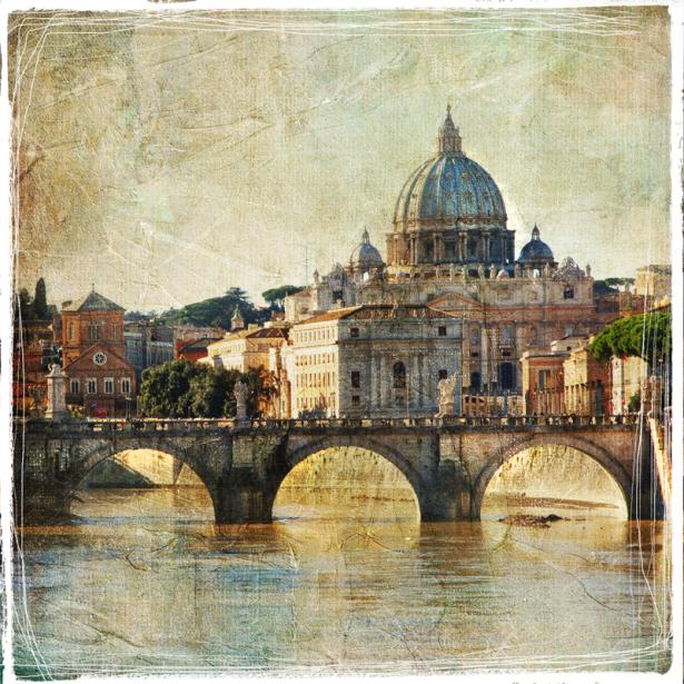 Река Тибр и Базилика ди Сан Пьетро в Риме (retro-vintage-0000374)