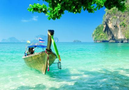 Фотообои туристическая лодка на острове (sea-0000379)