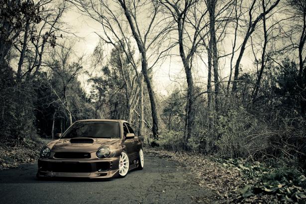 Фотообои subaru impreza на лесной дороге (transport-0000112)
