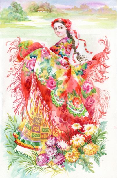 Картина Украинка с цветным платком (ukraine-0224)