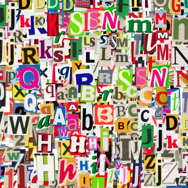 Фотообои буквы коллаж (background-0000176)