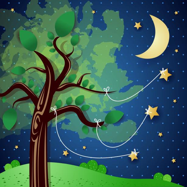 Детские фотообои сказочная ночь (children-0000217)