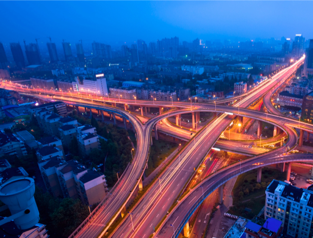 Фотообои Ночной мегаполис, мост, дорога (city-0000122)