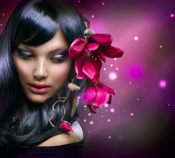 Фотообои девушка прическа цветок (glamour-0000202)