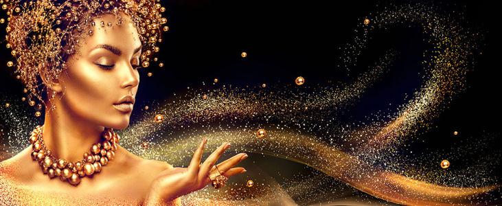 Фотообои Девушка с золотым макияжем (glamour-305)
