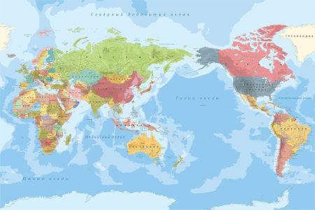 Фотообои Карта мира на русском языке (map-234)