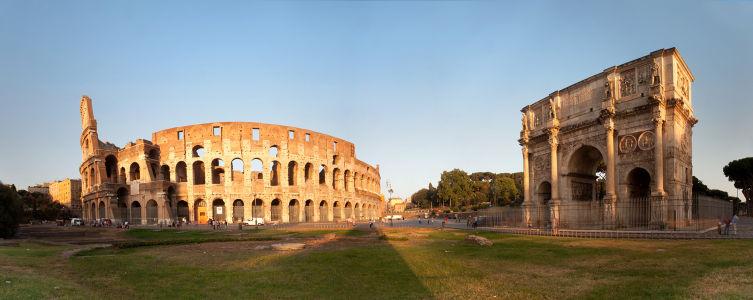 Фотообои Панорама Колизей и арка Константина (panorama-55)