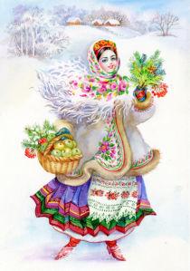 Картина Украинка зима (ukraine-0225)