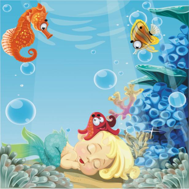 Фотообои для ванны морской конек (underwater-world-00184)