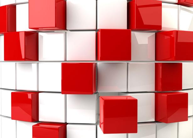 Фотообои Белые и красные кубы (3d20)