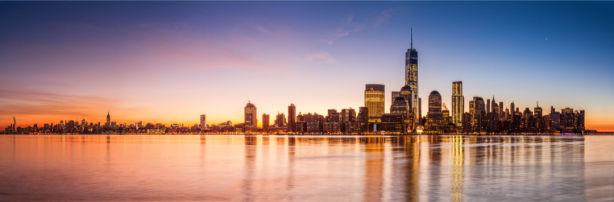 Фотообои Нью-Йорк на закате США (city-0001341)