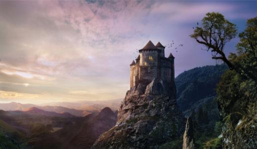 Фотообои сказочный замок на горе (city-0001397)