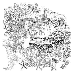 Фотообои раскраска Русалочка и кораблик (color-1)