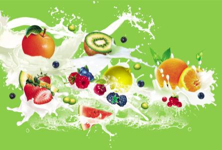 Кухонные фотообои фрукты в молоке (food-0000140)