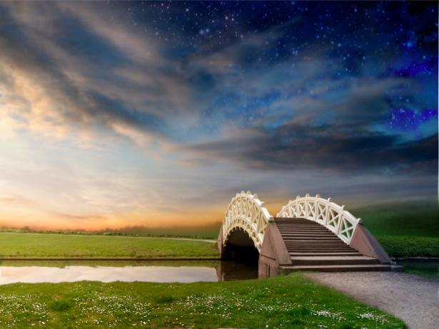 Фотообои природные пейзажи мост через реку (nature-00155)