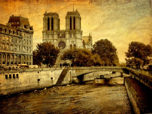 Фотообои мост Сена Франция Париж (retro-vintage-0000183)